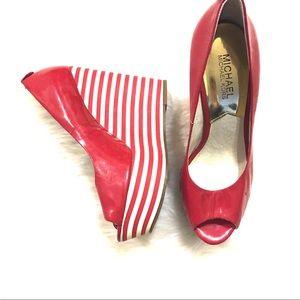 Michael Kors Women's Red Striped Wedge Heels